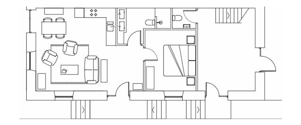 Ground floor 1 bedroom apartment floor plan